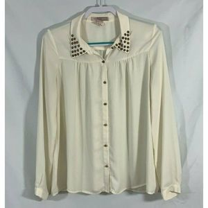 Love 21 Blouse Studded Collard Long Sleeves size M